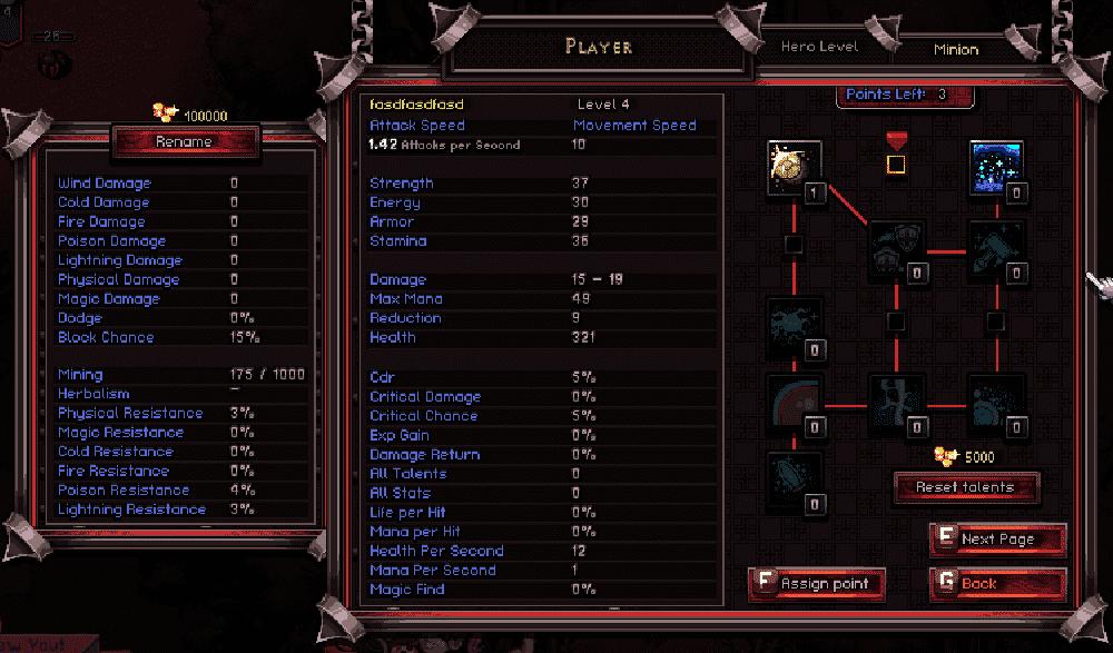 Exemplo de Árvore de Habilidades. Exemplo utilizando a Classe Paladino, uma das dlcs de Hero Siege.